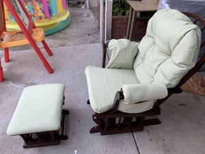 Wood Brown and light Green Rocking Chair for Sale in Bellflower, CA