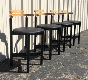 Set Of 4 Vintage Mid Century Danish Modern 1970s Gangso Bar Stools Leather Seats for Sale in Glendale, AZ