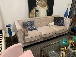Cream velvet sofa for Sale in Alexandria, VA