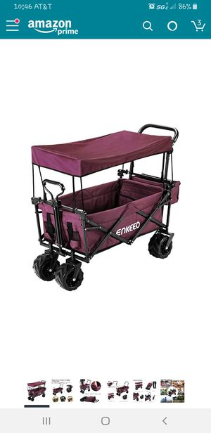 ENKEEO Foldable Utility Wagon Collapsible Sports Outdoor Cart with Removable Canopy, Large Capacity and Tilting Handle for Sale in Fortville, IN