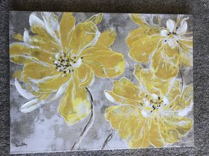 "Large Painting Picture Wall Art of Yellow Flowers Grey Background 31.5"" x 23.5"" Floral Decor for Sale in Litchfield Park, AZ"