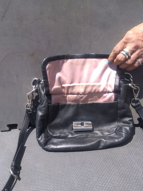 Black leather coach purse w/pink satin lining