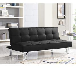 New Futon Bed Modern Chrome Sofa Bed Black Comfortable Compact Small Sofa for Sale in Hialeah,  FL