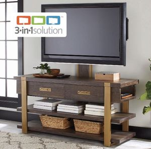 Modern 3-in-1 TV Stand, For TVs up to 70in, Toasted Brown Ash Color A6-185 for Sale in St. Louis, MO