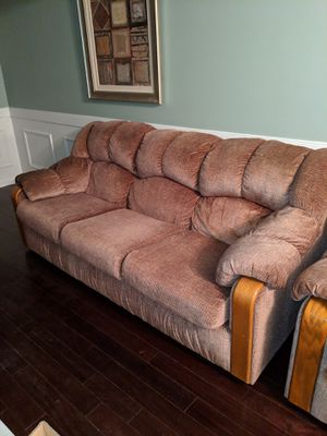 Brown cloth sofa and loveseat with wood accents. Price is not negotiable. for Sale in Fort Washington, MD