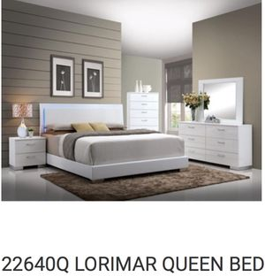 Queen bed frame . Head board footboard rails with led light for Sale in Wilton Manors, FL
