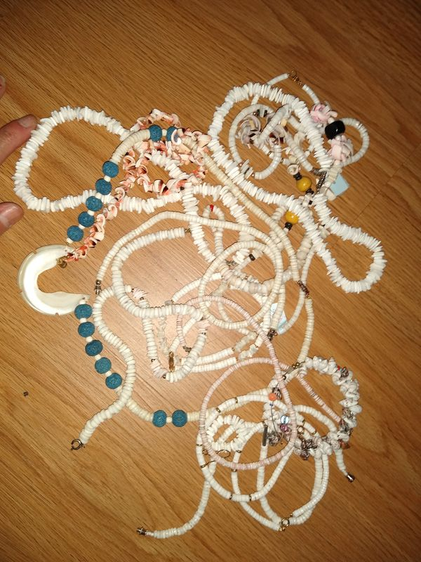 Mixed shell necklaces and African bead necklaces