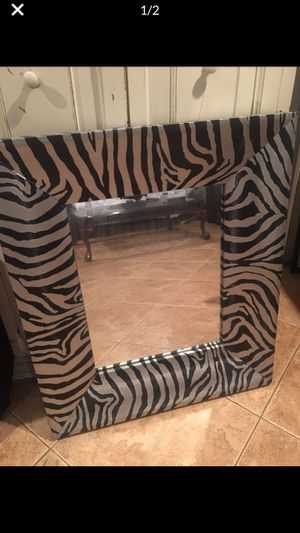 Large wood mirror silver black zebra stripes animal print bathroom frame wall home decor makeup for Sale in Rancho Cucamonga, CA