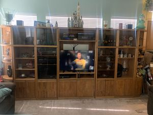 7pc Wooden Entertainment Center (Furniture Pieces Only) for Sale in Las Vegas, NV