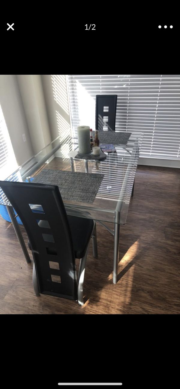 Modern glass dining table with 2 chairs