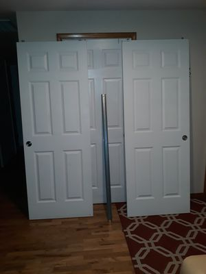 TWO CLOSET DOORS WHITE COLOR LIKE NEW FOR SALE SIZE 80in Taller by 30in for Sale in Bellevue, WA