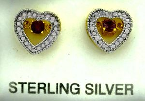 GENUINE 0.32 Cts AMETHYST & DIAMOND HEART EARRINGS .925 Sterling Silver * NWT for Sale in East Syracuse, NY