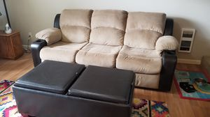 Reclining Sofa Couch w/ Ottoman for Sale in Vancouver, WA