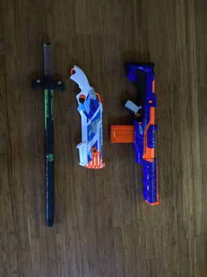 Nerf guns rough cut 2x4, delta trooper and nerf zombie strike sword for Sale in Sherwood, OR