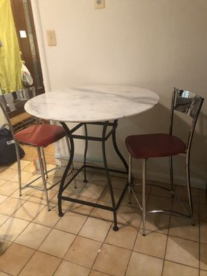 Kitchen nook table w/ solid stone tabletop and two chairs w/coffee cup designs for Sale in Washington, DC