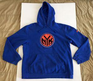 Adidas New York Knicks NYK 90s NBA Blue Orange Black Sweater Hoodie Mens Sz Large L for Sale in Tempe, AZ