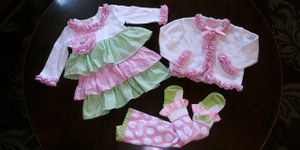Mud Pie baby girls 0-6M (runs big) pink & green ruffled dress, cardigan sweater and tights for Sale in Tacoma, WA