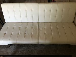 "White faux leather folding futon full-size bed 12 x 35 x 44"" when folded for Sale in Fountain Hills, AZ"