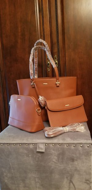 3 PC Tote Bag Set - Caramel Brown for Sale in Beaumont, TX