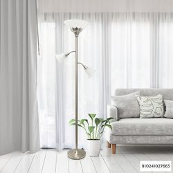 Elegant Designs 71 in. 3-Light Brushed Nickel Floor Lamp with Scalloped Glass Shades for Sale in Dallas,  TX