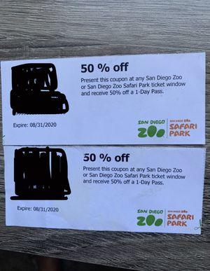 San Diego Zoo or Safari Park coupons for Sale in San Diego, CA