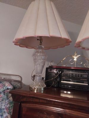 Lamps 2 crystal $35 and pole lamp w table $25 for Sale in Port Richey, FL