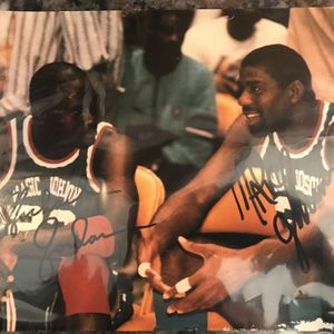 Jordan Any Magic Johnson Autographed Photo (print) And Action Figure for Sale in Mocksville, NC
