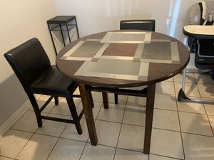 Tall Kitchen Table + Blk Leather Chairs for Sale in Quincy, MA