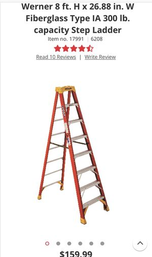 Werner 8' fiberglass ladder used but works great just needs a cleaning for Sale in East Windsor, NJ