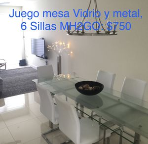 MH2GO Glass table set with 6 chairs for Sale in Miami, FL