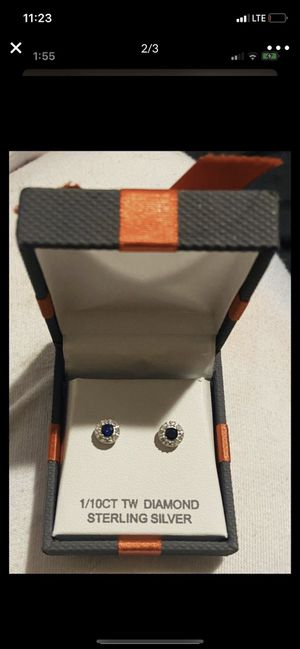 New 1/4CT Diamond and Sapphire Earrings for Sale in Mesa, AZ