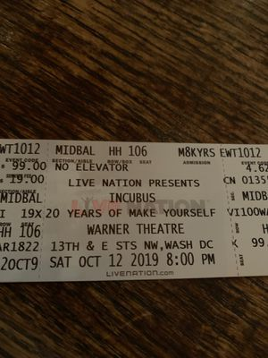 Incubus Ticket (1) for sold out Oct 12th Show in DC Warner theatre for Sale in Washington, DC