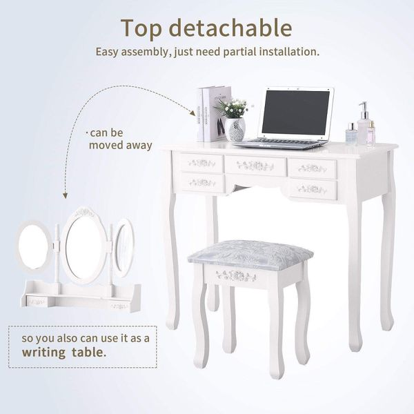 Vanity Makeup Dressing Table Set with 3 Mirrors and Stool Cushioned Bench
