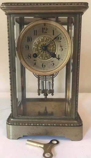 Antique Japy Freres JE Caldwell French Brass Mercury Pendulum Gong Chime Clock for Sale in Lexington, SC