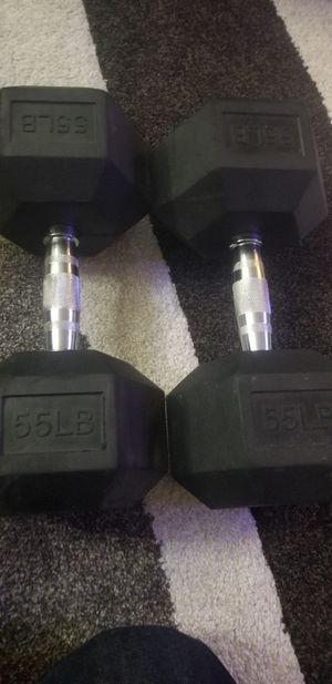 55lbs rubber hex dumbbells never used for Sale in Alameda, CA
