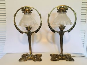 Beautiful Brass lamps with cut glass shades for Sale in Miami, FL