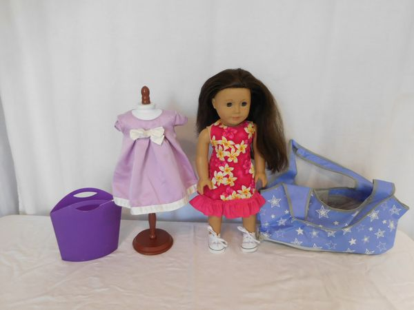 American Girl 18 inch Truly Me Doll Brown hair Brown eyes Freckles has mark on Butt see picture + American Girl Doll Carrier Tote Travel case + Non Am