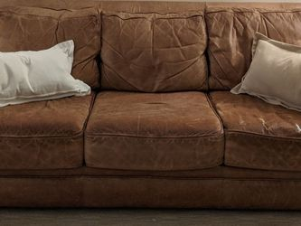 FREE Used Brown Leather sofa 7 feet wide for Sale in Mamaroneck,  NY