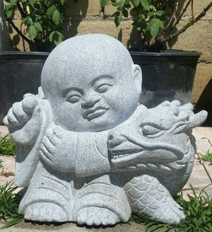 Baby Buddha with Dragon Stone Statue Decor for Sale in Downey, CA