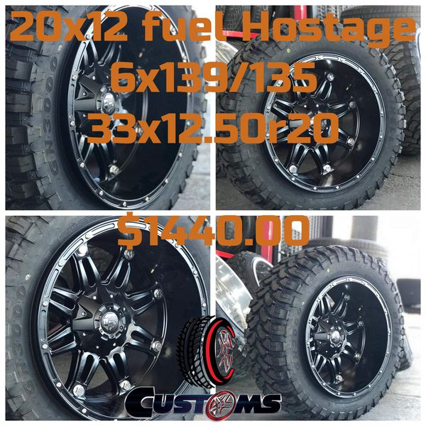 New!! 20x12 Fuel Hostage 6x139 6x135 33x12x20