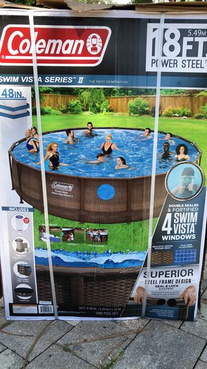 18ft x 48in Power Steel Metal Frame Above Ground Swimming Pool for Sale in Dunedin, FL
