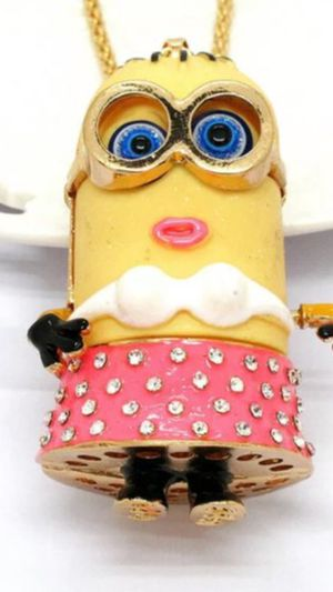 Betsey Johnson 3 d minion necklace animated despicable me fun gift on 18 inch chain for Sale in Northfield, OH