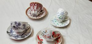 Set of 4 antique russian China hand painted 22k gold for Sale in Gibsonton, FL