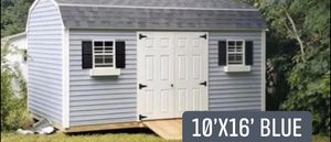 New 10' x 16' Blue Vinyl Gambrel Shed with. Storage Loft and Workbench for Sale in E BRIDGEWTR, MA