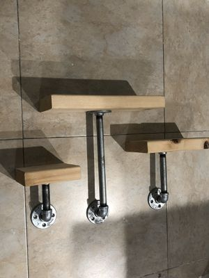 Industrial Galvanized pipe wall shelves shelf wall decor industrial for Sale in Miami, FL