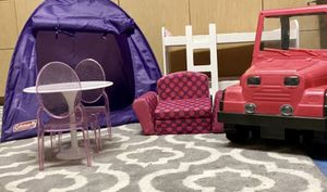 Jeep, pink convertible sofa, dining table and chairs, Coleman purple tent and bunkbeds for Sale in Fort Lauderdale, FL