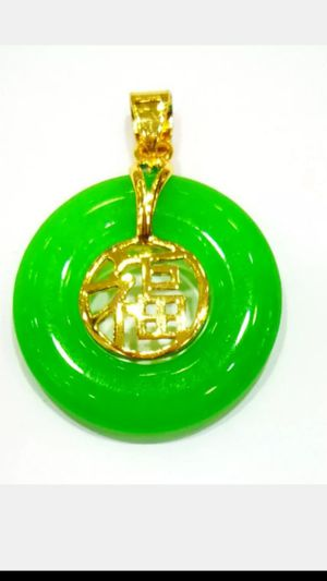 "Shipping Blessing Lucky Multi-Color Jade Round Circle Donut fortune Gold Plated Fortune Pendant leather Necklace 18"" for Sale in Richmond, CA"