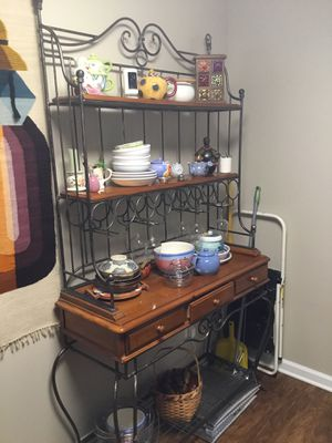 Kitchen Bakers Rack, three drawers, wine bottles with wine glasses. Solid wood, wrought iron. for Sale in McLean, VA