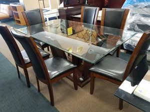 No credit needed new glass top 7pc dining table set for Sale in College Park, MD