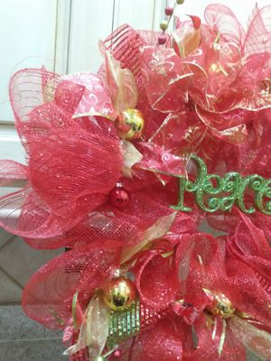 Red Deco Mesh Wreath for Sale in Canton, MS